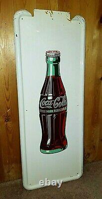 COKE-TACULAR Vintage 1947 Coca-Cola 40 x 16 Pilaster Sign in WONDERFUL Shape