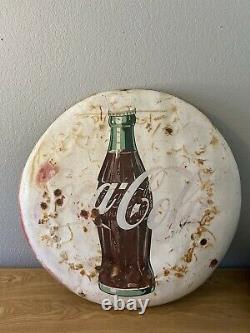 Coca- Coke Sign 1950's 38 Vintage Rare White