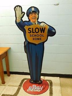 Coca ColaPoliceman/Crossing Guard AdvertisingOrig Cast Iron Base Ships Free