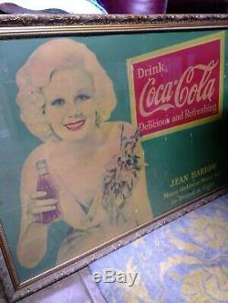 Coca Cola 1933 Original Jean Harlow Cardboard Advertisement Framed Old Hollywood