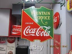 Coca Cola 1935 Porcelain Shield Sign (MINT) DOUBLE SIDED SIGN(RARE)W-Bracket