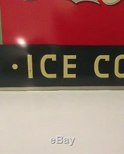 Coca Cola 1937 Metal Embossed Advertising Sign Ice Cold