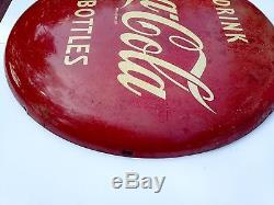 Coca Cola 1950's Button Sign 24 nice condition