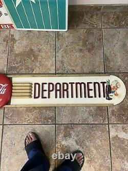 Coca Cola 1952 10 X 78 Wood And Masonite With 12 Button Sign