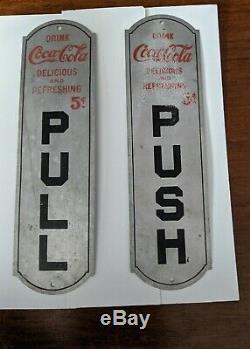 Coca-Cola 5¢, 1905 Push Pull Door Plates, Nice. Newark N. J. Aluminum, Rare