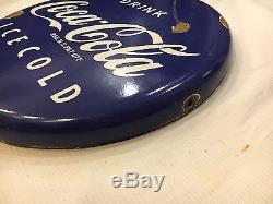 Coca Cola Button sign 1940's Porcelain Vintage Enamel Sign