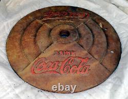 Coca Cola Cast Iron lollipop Sign Base Vintage