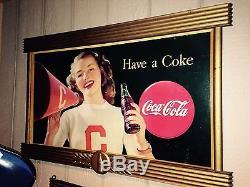 Coca Cola Coke Cardboard Poster Litho Display Sign with Kay Frame Cheerleader