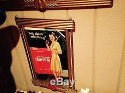 Coca Cola Coke Cardboard Poster Litho Display Sign with Kay Frame Umbrella Girl