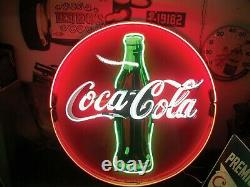 Coca Cola Coke Refresh Neon Light Sign Lamp 24x24 Real Glass Bar Wall Decor