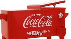 Coca Cola Cooler on Wheels Insulated Ice Chest Fridge Retro 80 Qt Metal Coke New