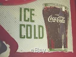 Coca Cola Double Button Flange Fountain Service Sign Rare