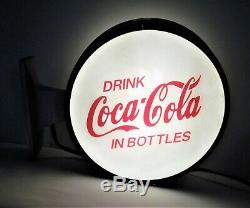 Coca Cola Double Sided Lighted Convex Glass Flange Sign VERY NICE 12 Lenses
