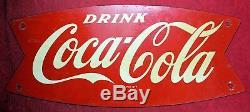 Coca Cola Fishtail Metal 12x5 Metal Sign 1960's Soda Pop Vintage
