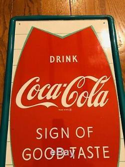 Coca Cola Fishtail NOS Soda Pop Bottle Sign