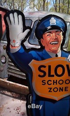Coca-Cola Fishtail Policeman Sign -School Crossing Guard