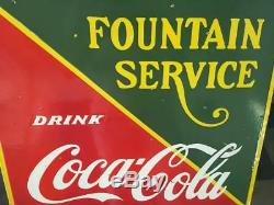 Coca Cola Fountain Service Porcelain Enamel Sign 22.5 X 25'' Inches Double Sided