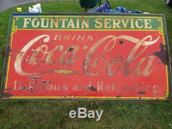 Coca-Cola Fountain Service Porcelain Sign 1933 100% Original 8' W x 4'-6 H