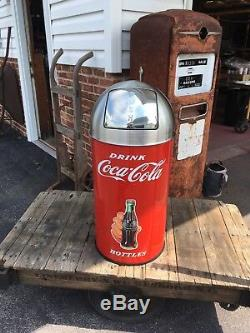 Coca Cola ICE COLD Trash Can SS TOP 12 Gal. 29 Tall
