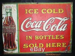 Coca-Cola In The Bottles 1930's Embossed Tin Soda Vintage Sign 26 1/2 x 19