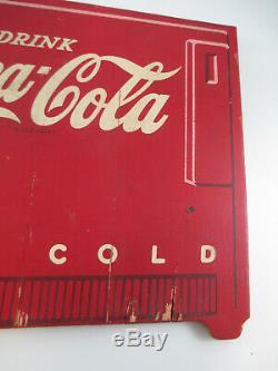 Coca-Cola Kay Display Wood Masonite Red Cooler Wall Hang Sign 1940s Rare