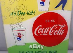 Coca Cola Light Up Cup Vending Machine Sign Vintage NOS 50's Coke Dee-lish