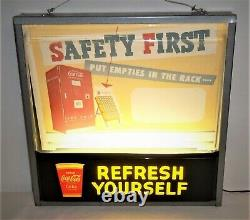 Coca Cola Lighted Refresh Yourself Safety First Theater Style Sign VERY NICE