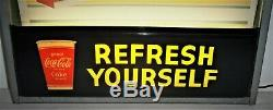 Coca Cola Lighted Refresh Yourself Theater Style Sign EXCELLENT CONDITION