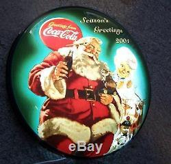 Coca Cola Ltd Edition Light Up Santa & Sprite Boy 2001 #735 Of 1500 Button Sign