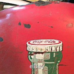 Coca-Cola Metal Button Sign, 36 diameter, Porcelain- Vintage Coke Advertising