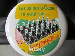 Coca-Cola Mint 16 Button Sign Heavy Porcelain 24 Bottle Case