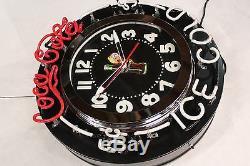 Coca Cola Neon Clock 26! Fountain Service Garage Collectors Sign Clock