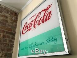 Coca Cola Original VENDING MACHINE FACE PLATE LIGHTED SIGN / Rare 1950's 60's