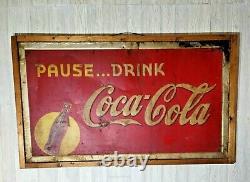 Coca Cola Pause. Drink Large Metal Framed Sign Original Vintage 1939 Coke Soda