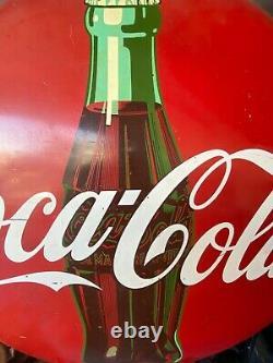Coca-Cola Porcelain 1956 Button Sign 36 Soda Pop Gas Station Large