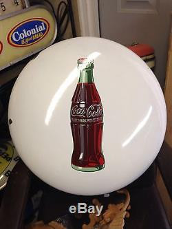 Coca Cola Porcelain 24 Inch Button Sign, Shiny white, Cardboard, Door Push