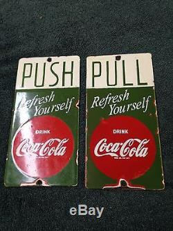 Coca Cola Porcelain 4 By 8 In Door Push Sign As Shown In Summers Guide, Button