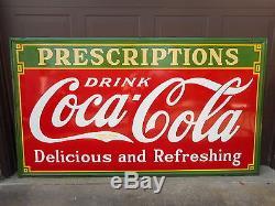 Coca Cola Porcelain Prescription Sign Original 8 x 4 Ft Exc. Cond. Antique 1933