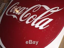 Coca Cola Sign Vintage 50s Large 45 By 45