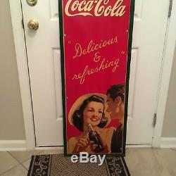 Coca Cola Soda Pop Advertising 1940's Vertical Picture Metal Sign