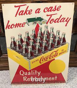 Coca Cola Take a Case Home Today Red Carpet & Coke Case 1959 Vintage Sign-Rare