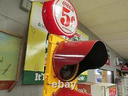 Coca Cola Traffic Light 8 oz. Bottle Holder Sign Pole Coke Restored In LED. WOW