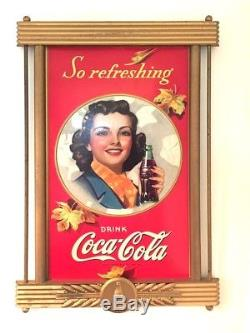 Coca Cola Vintage Cardboard Poster Display Sign with Kay Display Frame