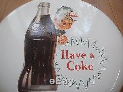 Coca Cola boy button porcelain sign 16 mint condition