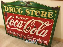 Coca Cola enamel porcelain drug store sign