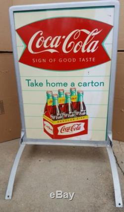 Coca Cola fishtail Sign sidewalk display 1959 Rare Coke advertising bottle RARE