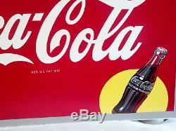 Coke Sign Masonite Large 20 x 28 Coca-Cola AM 9-46 Vtg Bottle Yellow Circle