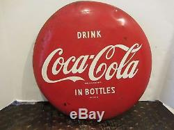 Coke Vintage 16 Metal Drink Coca Cola in Bottles Button Sign Original