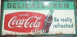 Coke sign Delicatessen vintage shop metal Coca Cola sign 6 feet by 3 feet 1961