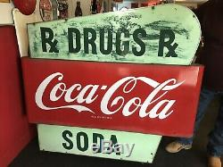 Double Sided Drug Store Coca-Cola Porcelain Sign Original 1950s